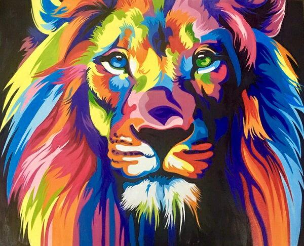 絵画 ライオン おしゃれ 絵 壁掛け インテリアカラフル 大型 100x80cm 極彩色 大きな絵 ビビッド vividアイキャッチ 印象に残るスタイリッシュな壁面装飾用絵画
