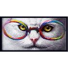 絵画ねこ額入り壁掛けの絵壁に飾る絵画かわいい猫の絵玄関リビングダイニング大きいサイズの油絵【額付き】ビビッドvivid絵画ネコメガネ