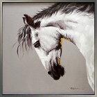 絵画【ホワイトホース(白馬)】馬の絵油絵癒しのヒーリングアート壁に飾る壁掛け額絵ダイニングリビングに大きい絵【額付き】黒白黒モノトーン絵画グラマラス
