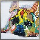 絵画H830mmW830mmダイナミックな壁掛けインテリアかわいいワンコ・フクロウ・クマの絵【額付き】かわいい犬の絵ヒーリングアート動物ペットの絵/フレンチブルドッグの絵リビングダイニングインテリアビビッドvivid絵画