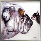 壁掛け絵画【あきらめちゃだめだからね】犬の絵ブルドッグチワワ手描きのオンリーワンアイテム玄関ダイニングリビングに大きいサイズの絵【額付き】壁掛け黒白黒モノトーン絵画