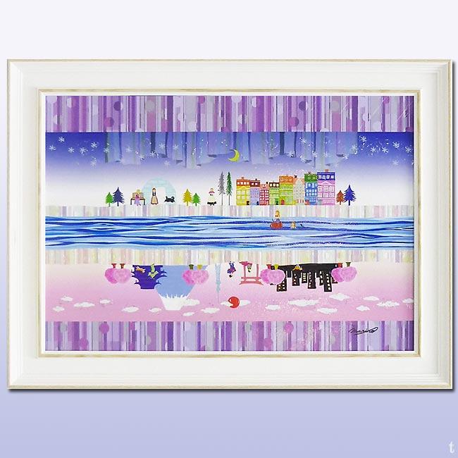 別世界 アートフレーム 絵画 インテリア「鮮やかな色彩と和洋折衷の遊び心を・・」ラメチップ入りゲル加工 なかのまりの アート 壁掛け