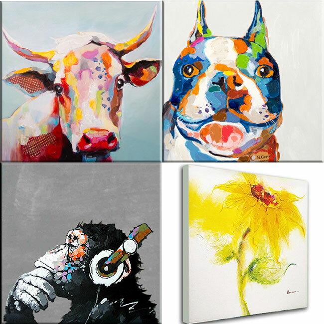絵画 飾りやすい60cmサイズ牛と犬の絵 ブルドッグ 壁掛け人気のおサル・ひまわり再入荷ビビッド vividおしゃれかわいいインテリア アートでお部屋をリメイク 楽天カード分割 テレビドラマ使用品