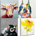 絵画飾りやすいスタンダード60cmサイズ牛と犬の絵ブルドッグ壁掛け人気のおサル・ひまわり再入荷ビビッドvividおしゃれかわいいインテリアアートでお部屋をリメイク楽天カード分割ドラマ使用品