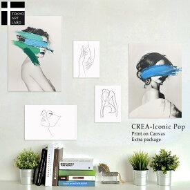 【手描きアリ】アートパネル CREA Iconic Pop 5枚組 インテリア アート 絵 おしゃれ かわいい 壁掛け ファブリック パネル セット