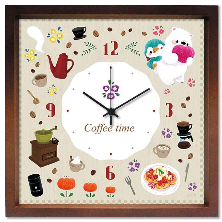 掛け時計 Coffee time cut【いたのなつみ】 音がしない かわいい 壁掛け時計 おしゃれ 絵 ナチュラル デザイン時計【アーティスト特集】アートクロック M-size