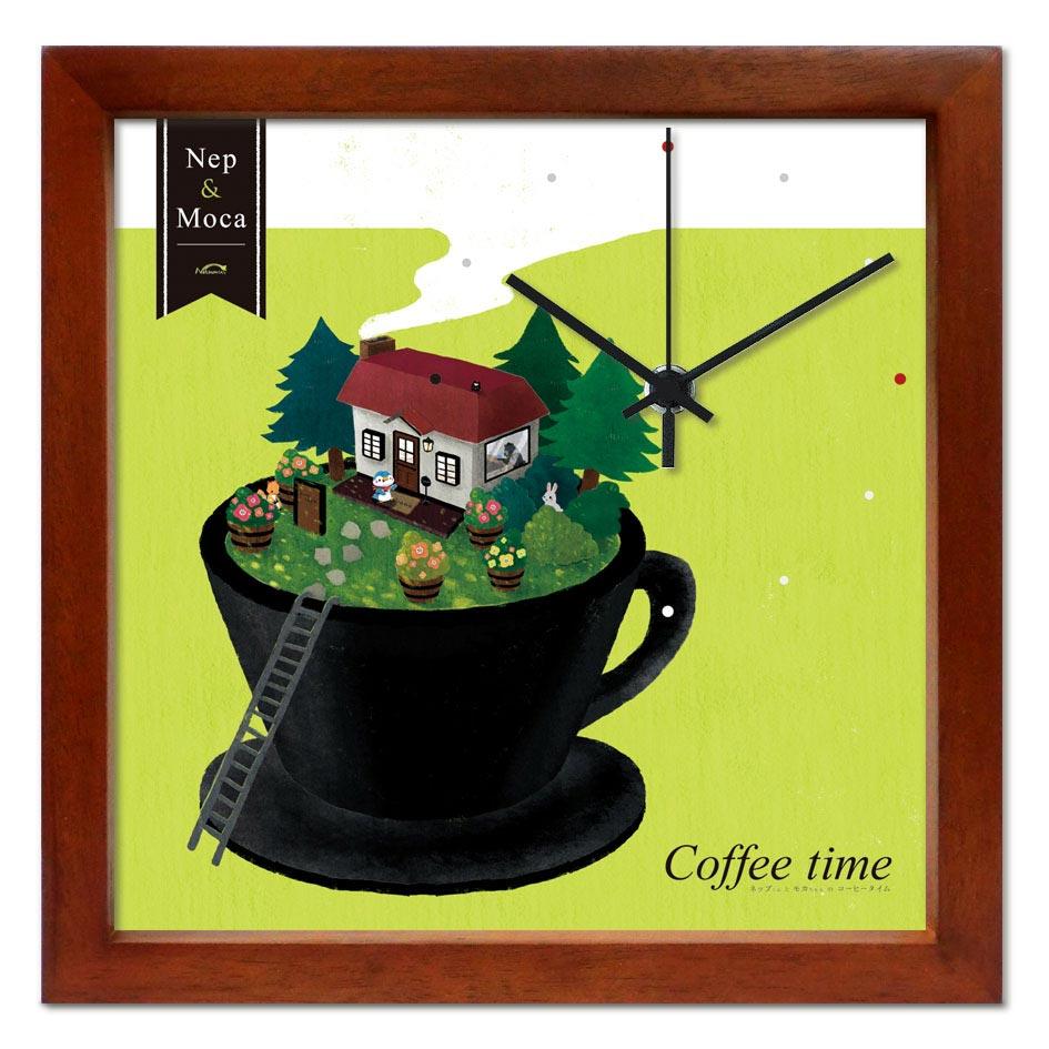 掛け時計 Coffee time【いたのなつみ】音がしない かわいい 壁掛け時計 おしゃれ 絵 コンパクト ナチュラル デザイン時計 玄関【アーティスト特集】