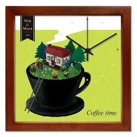 掛け時計 Coffee time【いたのなつみ】音がしない かわいい 壁掛け時計 おしゃれ 絵 コンパクト ナチュラル デザイン時計 玄関
