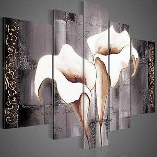 絵画【オランダカイウ】W140cm 5枚組 花の絵 カラー おしゃれ 壁掛け インテリア 絵 リビング 店舗 壁飾り 広い壁の装飾 大きい絵 白い花