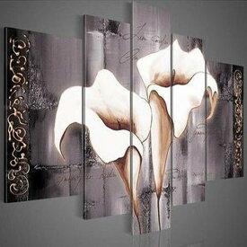 絵画【オランダカイウ】おしゃれ 壁掛け インテリア 絵 油絵 リビング 店舗 壁飾り 大きいサイズ 白い花 5枚組 花の絵 カラー