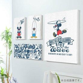 【お買物マラソン】Disney 4枚組 アート パネル Mickey surfing 複合画 アレンジ自在 ファブリックパネル セットで飾れる ミッキーマウス 壁掛け ドナルド