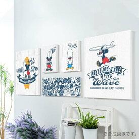 【お買物マラソン】Disney 5枚組 アート パネル Mickey surfing 複合画 アレンジ自在 ファブリックパネル セットで飾れる ミッキーマウス 壁飾り