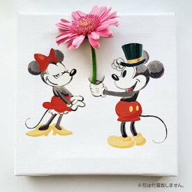 ミッキーマウス ミニーマウスのIKEBANA 生きてるインテリア 生け花 花瓶付き プレゼント DISNEY キャンバスパネル アートパネル 父の日 結婚祝い 新築祝い