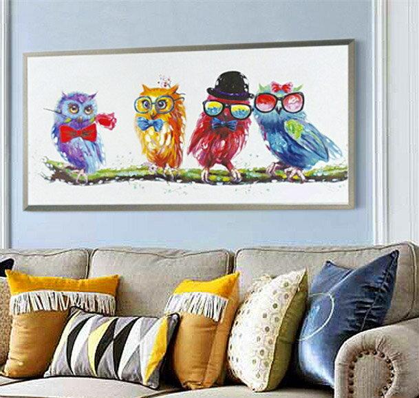 【SALE】絵画 ふくろう 壁掛け インテリア キュートオウル 4匹のフクロウ 梟 酉年 53cmx103cm 額付き おしゃれ 絵 横長