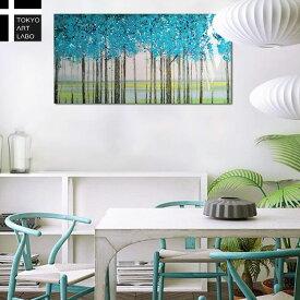 絵画【北欧風の壁アート】NORDIC FOREST BLUE TEAL 壁掛け インテリア 壁 飾り アート 絵 自然 風景 森 林 白樺 抽象 リビング 玄関 ベッドルーム ホテル オフィス モダン 洋風 青 緑