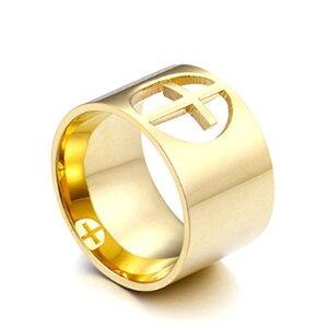 サージカルステンレス製ステンレスリング/サージカルステンレス製ゴールドワイドクロスデザインレディースリング