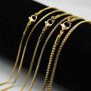 ゴールドネックレスチェーン/サージカルステンレス製ゴールドベネチアンチェーン/1.2mm 1.5mm 2mm幅/45cm 50cm 60cm
