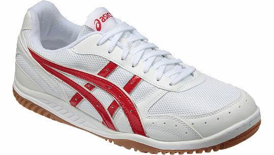 《学校の上靴に適しています》【アシックス】インドアシューズ(ホワイト×レッド)ang570
