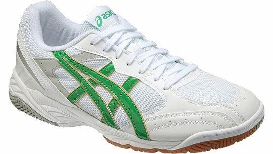 《学校の上靴に適しています》【アシックス】インドアシューズ(ホワイト×グリーン)ang560