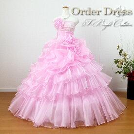 【サイズオーダー】5〜25号【送料無料】 色変更できます 刺繍入り オーガンジーカラードレス プリンセスライン(ピンク) お花コサージュ付き段フリルドレス tb52190