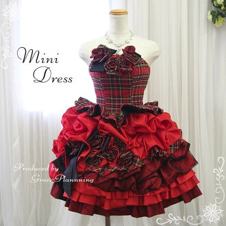 Size order back lace-up! with チェックコサージュ party dress ★ minidress ★ ( red x Plaid ) 30001
