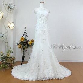【即納】ウエディングドレス 5号7号 オフホワイト ロングトレーンでスタイル良く スレンダーライン Aライン 豪華 大人 ロングドレス トレーン 演奏会用ドレス 発表会 背中編み上げ 91053