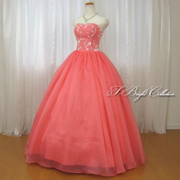 【改良しました】 カラードレス 7号9号 (サーモンピンク)演奏会用ドレス ウエディング ロング プリンセスライン ビスチェの刺繍が華やかな背中編み上げドレス シャーリング (mss) 27048