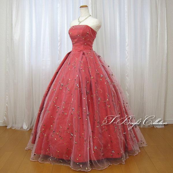 新商品 カラードレス 7号9号 (レッド)演奏会用ドレス ウエディング ロング プリンセスライン ビスチェの刺繍が華やかな背中編み上げドレス シャーリング 27049