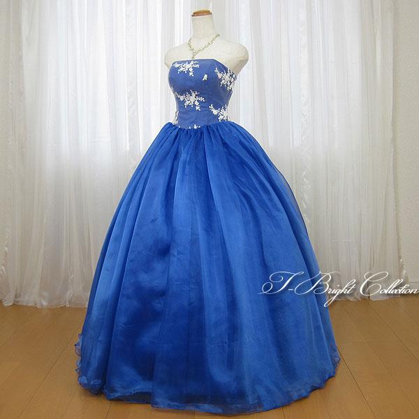 新商品 カラードレス 7号9号 (ブルー) 演奏会用ドレス ウエディング ロング プリンセスライン ビスチェの刺繍が可愛い 背中編み上げドレス シャーリング (mss) 74008