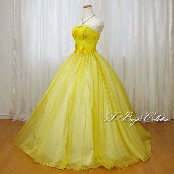 カラードレス 7号9号 イエロー/黄色 演奏会用ドレス ウエディング ロング プリンセスライン 刺繍が綺麗な背中編み上げドレス ゴムシャーリング 結婚式や披露宴にも (mss) 74004
