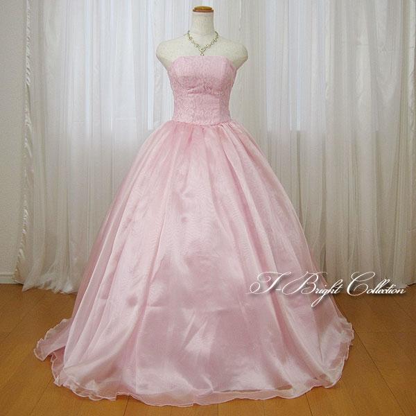 カラードレス 5号7号9号11号 (ライトピンク 桜色) 演奏会用ドレス ウエディング ロング プリンセスライン シンプルな光沢のあるスカートにビスチェの刺繍が華やかな背中編み上げドレス シャーリング (mss) 74000