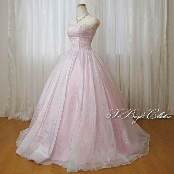 新商品 カラードレス 7号9号11号 (ライトピンク 桜色)刺繍が2種類 演奏会用ドレス ウエディング ロング プリンセスライン ビスチェの刺繍が華やかな背中編み上げドレス シャーリング (mss) 74005