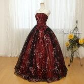 花柄リボンのカラードレス(ワイン×ブラック)0533