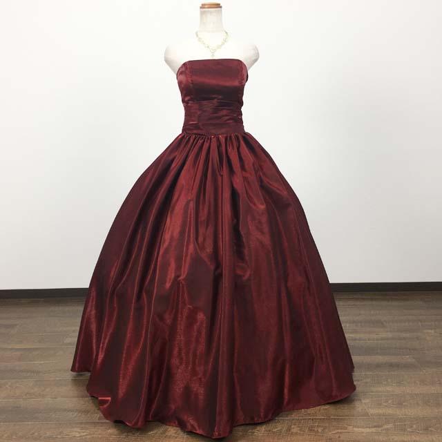 サイズオーダー カラードレス 背中編み上げ プリンセスライン (ワインレッド) 51449 送料無料