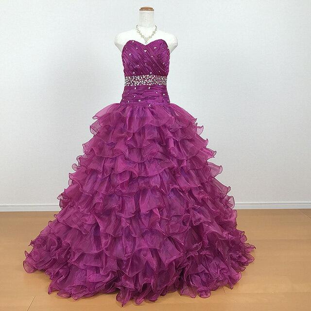 カラードレス ★11号★グレープ/紫 演奏会用ドレス ロングドレス  ボリュームドレス 結婚式 ウエディング 披露宴 発表会 演奏会 舞台 ステージ衣装 ふんわり キラキラ 可愛くて上品なカラードレス スパンコール 81811