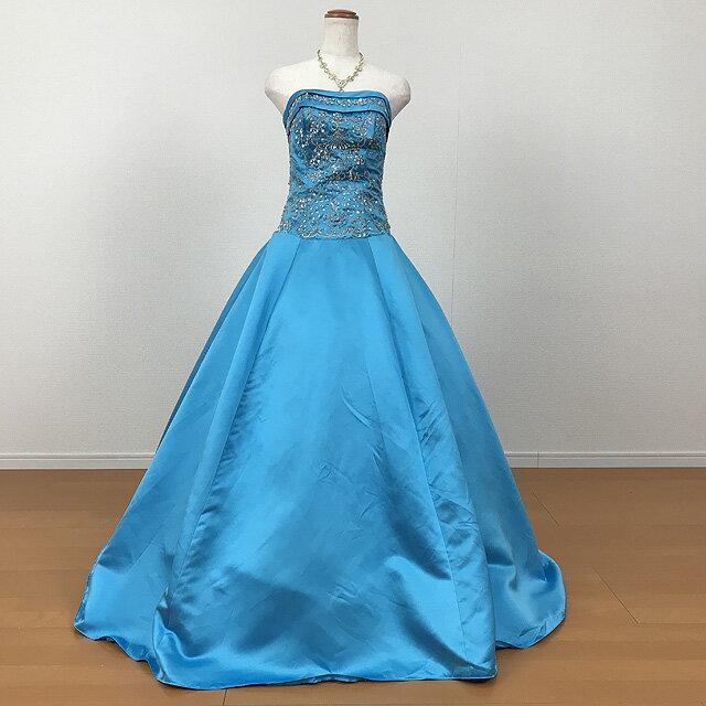 カラードレス 大人 (ブルー) 13号〜15号 LLサイズ 小さいサイズ 大きいサイズ 演奏会用ドレス ウエディング ロング プリンセスライン スタイル良く見えるデザイン 背中編み上げでサイズ調整可 結婚式 発表会 パーティー G2235bl