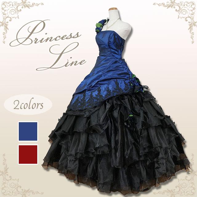 カラードレス 5号7号9号11号 全2色(ネイビーブルー*ブラック/ワインレッド*ブラック) 演奏会用ドレス ウエディング プリンセスライン ブラック 刺繍のスカートに、バラのモチーフがアクセントな背中編み上げドレス シャーリング 黒/紺/赤56780