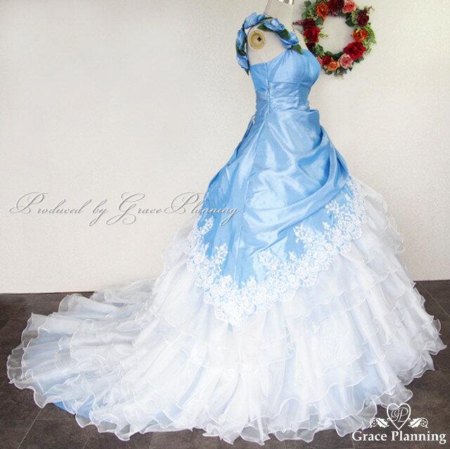 カラードレス 5号 7号 9号 11号(ライトブルー*ホワイト)ウエディングドレス 綺麗なオーガンジーにふんわり華やかロングトレーンのドレス プリンセスライン 結婚式やパーティー、演奏会用ドレスとしても美しいドレス 14635