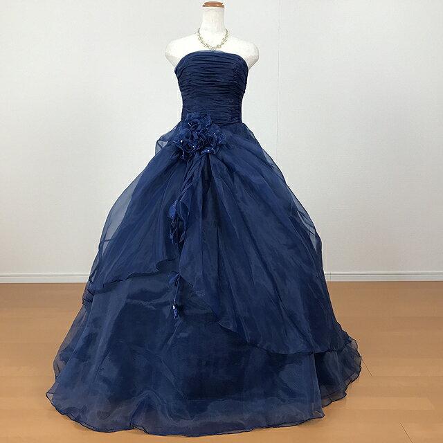 【即納/あす楽12時】カラードレス ウエディング ロングドレス プリンセスライン お花のコサージュ 5号7号9号11号 ネイビー127nv