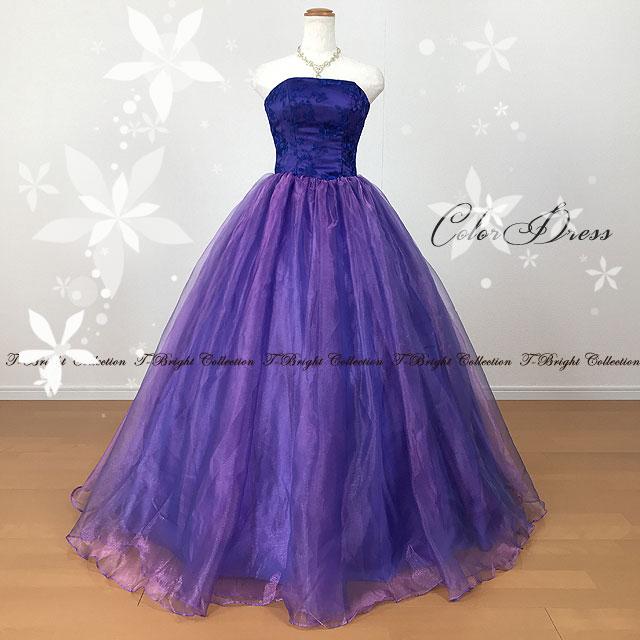 新商品 カラードレス 7号9号11号 パープル/紫 演奏会用ドレス ウエディング ロング プリンセスライン 光の当たる角度で色が優雅に変化します 玉虫色系ドレス オーロラカラー 背中編み上げドレス ゴムシャーリング 5031