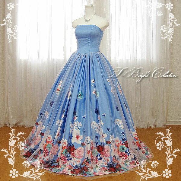 カラードレス 7号9号11号 (花柄・ブルー) 演奏会用ドレス ウエディング ロング プリンセスライン 発表会 花柄プリントが可愛い 背中編み上げドレス ゴムシャーリング 結婚式やフォトウェディング、披露宴にも18755