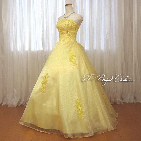 カラードレス 5号7号9号11号13号イエロー 演奏会用ドレス 大人 ウエディング ロングドレス 二次会 花嫁 プリンセスライン 刺繍が綺麗な背中編み上げドレス シャーリング スパンコール付き ブライダル お色直し Wedding Dress 学生 15004