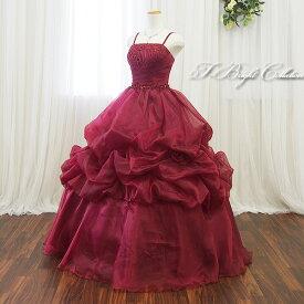 在庫処分【大きいサイズ】カラードレス(ワインレッド 11号-13号15号17号) ウエディング ロングドレス プリンセスライン光沢のあるゴージャスなカラードレス!背中編み上げのロングドレス 結婚式のお色直しや発表会にどうぞ(2142wine)