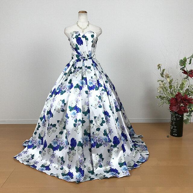 華やか花柄カラードレス 7号9号11号 演奏会用ドレス ウエディング ロングドレス プリンセスライン★パニエなしでも綺麗なドレスライン★ブルーの花がさわやかな雰囲気のカラードレスです 青 背中当て布+編み上げ紐 花柄プリント 舞台 ステージ 衣装 92012