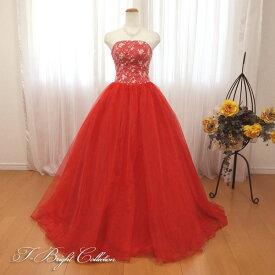 【新商品】 カラードレス 7号9号 (レッド/赤) 演奏会用ドレス ウエディング ロング プリンセスライン 胸元の刺繍が華やかな背中編み上げドレス シャーリング 赤色 発表会や舞台でも映えるきれいめドレス (mss) 74027