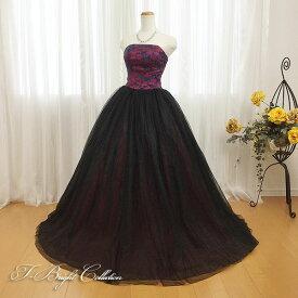 【新商品】 カラードレス 7号9号11号13号 (ワインレッド×ブラック)演奏会用ドレス ウエディング ロング プリンセスライン 胸元の刺繍が華やかな背中編み上げドレス シャーリング 赤色 発表会や舞台でも映えるきれいめドレス (mss) 74035