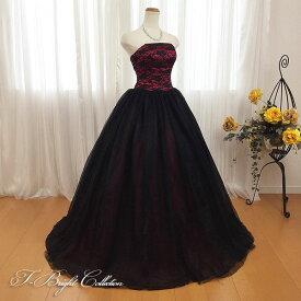 【新商品】 カラードレス 7号9号 (レッド×ブラック)演奏会用ドレス ウエディング ロング プリンセスライン 胸元の刺繍が華やかな背中編み上げドレス シャーリング 赤色 発表会や舞台でも映えるきれいめドレス (mss) 74036