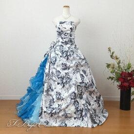 カラードレス 7号9号 (花柄・マルチカラー) 演奏会用ドレス ウエディング ロングドレス プリンセスライン 発表会 花柄プリントが可愛い 結婚式やフォトウェディング、披露宴にも 85189