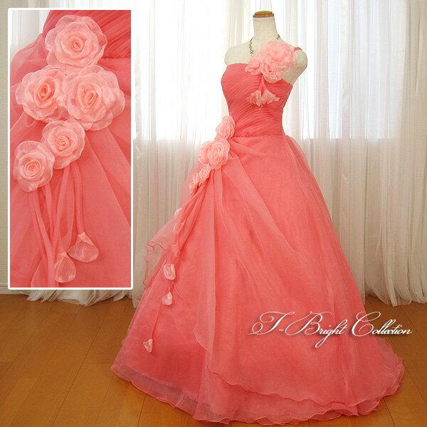 大きいサイズ【薄花】カラードレス 13号〜15号 ピンク 色ドレス プリンセスライン 背中編み上げ胸元シャーリング♪ 片側肩紐付きで安心 お花コサージュのふんわりオーガンジー 色・サイズ限定 51436cp