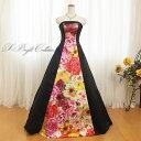 カラードレス 7号9号11号13号15号 (ブラック) 胸元からスカートまで花プリントが美しいドレス 大人 ロンドレス 演奏会…